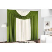 Cortina de Sala ou Quarto 3 metros Palha / Verde com 1 peças tecido Malha - Cortina Cristal