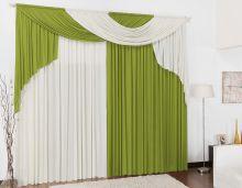 Cortina para Sala e Quarto Verde e Palha 3 metros em Malha varão Duplo - Cortina Elegance