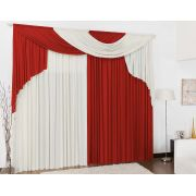 Cortina para Sala e Quarto Vermelho e Palha 3 metros em Malha varão Duplo - Cortina Elegance