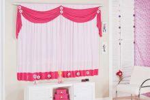 Cortina Rosa e Pink  para Quarto de Menina com 02 metros para Varão Simples - Cortina Margarida