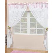 Cortina Sala e Quarto 2 metros Branco com detalhe rosa Percal 200 fios - Cortina Bianca