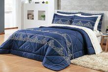 Edredom Barroco Queen Azul Marinho com 3 peças