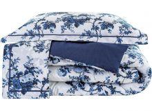 Edredom Firenze Solteiro Floral Azul com 2 peças