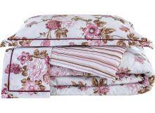 Edredom Firenze Solteiro Floral Rosê com 2 peças