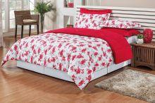 Edredom Firenze Solteiro Floral Vermelho com 2 peças