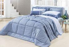 Edredom Ornatto Queen Azul com 3 peças