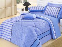 Edredom Queen Azul Cassino 5 peças 100% Algodão