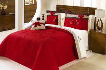 Edredom Cama Queen Vermelho com 5 peças tecido Algodão e Poliester e Microfibra - Edredom Fascinio