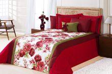 Edredom Cama Queen Vermelho com 7 peças tecido Algodão e Poliester e Microfibra - Edredom Savana