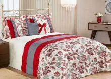 Edredom Vitória Queen Vermelho com Porta Travesseiro com 7 peças