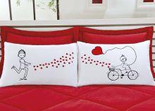Fronhas Divertidas Amor Padrão Emoções Bicicleta de Corações Estampado com 2 peças
