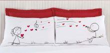 Fronhas Divertidas Amor Padrão Emoções Musica de Amor Estampado com 2 peças