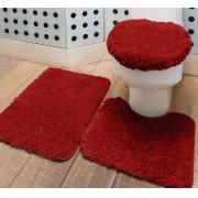 Jogo de Banheiro 65cm Vermelho Prime 3 peças Polipropileno