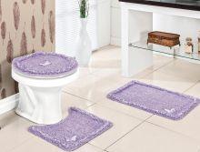 Jogo de Banheiro Canelli  Lilas com 3 peças em Algodão