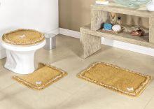 Jogo de Banheiro Canelli  Mostarda com 3 peças em Algodão