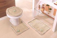 Jogo de Banheiro Canelli Único Cáqui Detalhe Borboleta com 3 peças