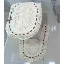 Jogo de Banheiro  Crochê Fitado Tabaco com 3 peças