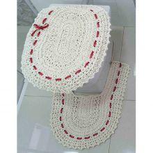 Jogo de Banheiro  Crochê Fitado Vermelho com 3 peças