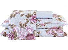 Jogo de Cama Arzene Casal Floral Rosê Com Elástico com 4 peças