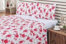Jogo de Cama Arzene Casal Floral Vermelho Com Elástico com 4 peças
