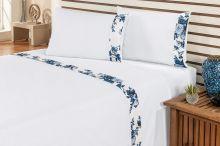 Jogo de Cama Marebre Queen Floral Azul Com Elástico com 4 peças