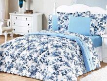 Jogo de Cama Murano Queen Azul Floral com 3 peças