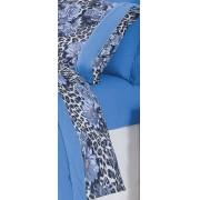 Jogo de Len�ol Casal On�a Azul em Malha Fio Penteada 100% Algod�o com 4 pe�as - Jogo de Len�ol Venet