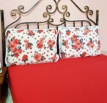 Jogo de Lençol Solen Queen Rosas cor Vermelho com 3 peças