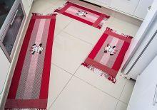 Jogo de Tapete  Cozinha Biju Vermelho Vaquinha com 3 peças