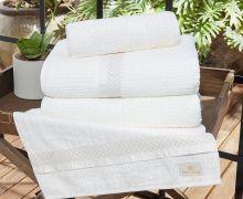 Jogo de Toalhas (Banho e Rosto) Gigante Coleção Myriad Branco Friba de Bambú com 5 peças