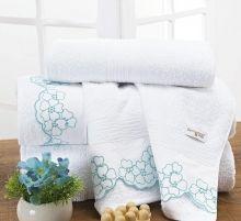 Jogo Toalha Darla Única Flores Bordadas cor Azul Thiffany com 5 peças