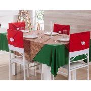 Kit 4 Capa de Natal para Encosto de Cadeira com Gorro Vermelho Natalino
