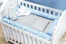 Kit Almofada Rolo Benção Proteção Berço Bebê cor Azul com 4 peças