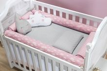 Kit Almofada Rolo Benção Proteção Berço Bebê cor Rosa com 4 peças