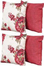 Kit Almofadas Petrela 45cm x 45cm Floral com Vermelho com 4 peças