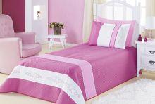 Kit Cobre Leito Meninas (Cobre Leito + Porta Travesseiro) Solteiro Angel Coração Bordado Rosa Rosa Liso com Bordado Coração com 4 peças