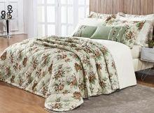 Kit Colcha Allegra Super King Floral cor Verde com Palha com 7 peças