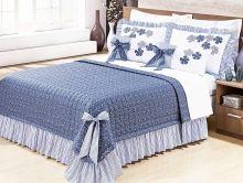 Kit Colcha Doce Lar Queen cor Azul com 7 peças
