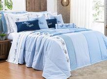 Kit Colcha Yandra Queen Borboletas cor Azul com 9 peças