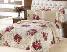 Kit Edredom (Edredom + Jogo de Cama) Queen Murano Bouquet Vermelho Flores Vermelhas com 7 peças