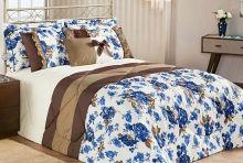 Kit Edredom Vitoria Queen Azul Floral com 7 peças