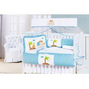 Kit Enxoval / Berço Bebê Arca de Noé Azul com 9 peças Algodão