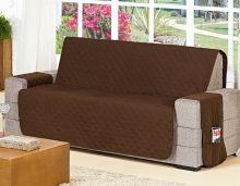Protetor de Sofá Protetor de Sofá 2 e 3 Lugares Com Porta Controle e Revista cor Tabaco com 2 peças