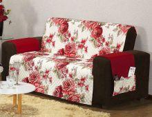 Protetor Estampado Sofá Floral Vermelho com 2 peças
