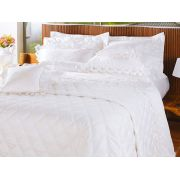 Roupa de Cama / Lençol Savona Queen em Fio Egipicio Percal 400 fios cor Branco com 4 peças