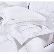 Roupa / Lençol de Cama Queen Branco Percal 200 fios com 4 peças - Jogo de Lençol Serenita