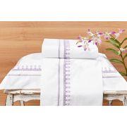 Roupa / Lençol de Cama Solteiro Branca com lilás Percal 200 fios com 3 peças - Jogo de Lençol Campofiori