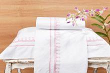 Roupa / Lençol de Cama Solteiro Branco com detalhe rosa Percal 200 fios com 3 peças - Jogo de Lençol Campofiori