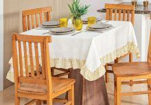 Toalha Quadrada para 04 Cadeiras Chevron 1 peças - Amarelo