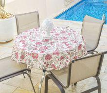 Toalha Redonda para 04 Cadeiras Impermeável 1 peças - Vinho